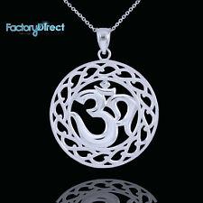 White Gold Om Symbol Pendant Necklace Yoga