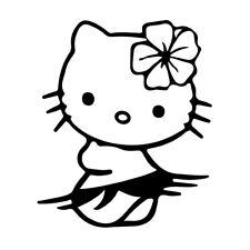 """5"""" Hello Kitty Hula Vinilo Autoadhesivo Con Ventana De Coche Portátil Hawai Tropical Dance"""