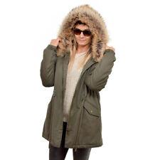 Damen Parka mit Raccoon Pelzbesatz für Kapuze Jacke mit Waschbär Fell Mantel FOX