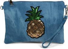Jeans Clutch Glitzer Pailletten Ananas, Schulterriemen, Abendtasche Tasche Damen