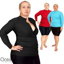 Ladies Rash Guard Plus Size 16-26 Rashie Zip Swim Shirt Black Turquoise Red Vest