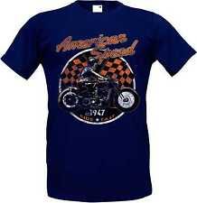 T-Shirt im Toni del blu con un motociclista Chopper - vecchio Motivi di scuola