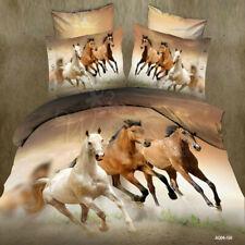 Horse HD Print Reversible Duvet Cover Pillow Case Animal Quilt Cover Bedding Set