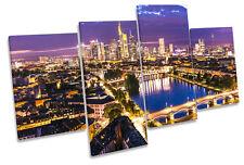 Frankfurt Germany Skyline City CANVAS WALL ART Four Panel Print
