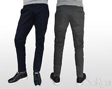 Pantaloni Uomo Chino Cotone Ottoman Comfort Tasca America Blu Grigi elast SARANI