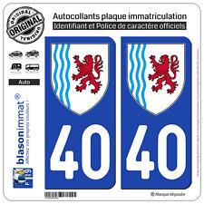 2 Stickers autocollant plaque immatriculation : 40 Nouvelle Aquitaine - LogoType