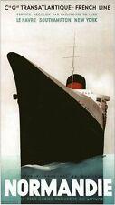 Vintage Normandie francés línea transatlántica envío cartel A3/A2/A1 impresión