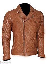 Custom Tailor Made Genuine Lamb Skin Leather Tan Jacket Moto Diamond Quilted