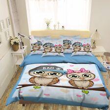 3D Creative Owl Couple 511 Bed Pillowcases Quilt Duvet Cover Set Single Queen Ca