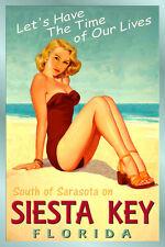 SIESTA KEY Florida New Gulf Coast Tropic Beach Poster Pin Up Girl Art Print205