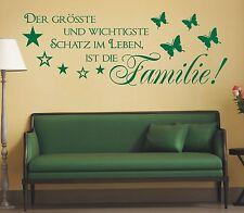 X225 WANDTATTOO Spruch Der grösste Schatz im Leben ist die Familie Wandaufkleber