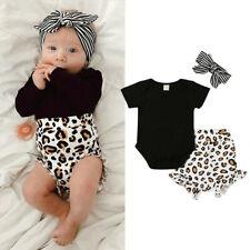 Newborn Baby Girls Leopard Print Clothes Tops Romper Short Pants Summer Outfits