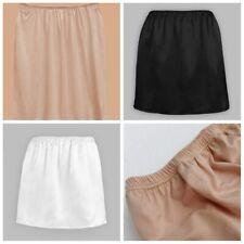 Women Mini Safety Skirt Satin Half Slip Underskirt Petticoat Under Dress Skirt