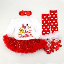 4Pcs My First Christmas Santa Baby Girls Romper Fancy Tutu Dress Cotton Outfit