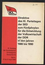 Direktive XI. Parteitag SED Fünfjahresplan Entwicklung Volkswirtschaft DDR 1986
