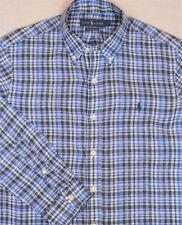 Ralph Lauren Shirt Blue Plaid Button-Front Ocean Wash Linen XL NWT