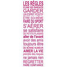 """Sticker Mural Texte """"LES REGLES D'UNE VIE ..."""", 100x30 cm à 200x60cm (TEX037)"""