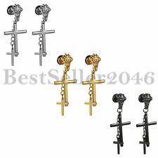 2 Piezas Garra Esqueleto Pendientes con Largo Cadena Cruz Estrella Pendientes de Hombres Mujer Acero Inoxidable