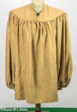 Renaissance Men's Shirt Peasant Style Velour Gathered Yoke Costume Shirt Lg-Xl