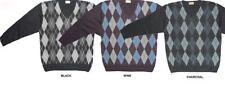 Carabou cottonblend rombos cuello en V Jersey 2xl to 4xl, vino, charcoal&black