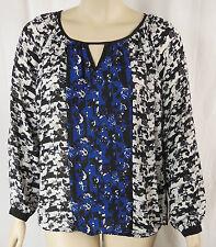 City Chic Black Blue Rose Long Sleeve Tunic Top Plus Size XS 14 XL 22 BNWT  #X27
