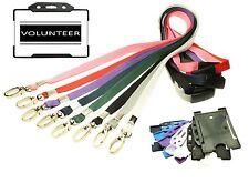 Tarjeta de identidad de voluntarios con cordón de Negro + soporte tarjeta de identificación-Elección del Color.