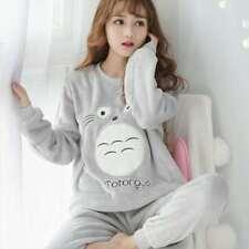 Women's Pajamas Set Pyjamas Warm Flannel Pants Cartoon Sleepwear Nightwear Chic