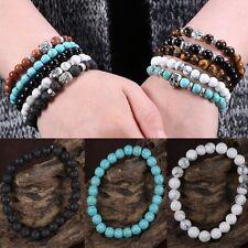 8mm Fashion Natural Gemstone Lava Beads Stretchable Buddha Men's Bangle Bracelet