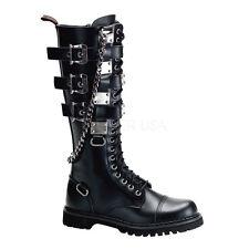 "DEMONIA Gravel-23 1 1/4"" Heel Goth Punk Alternative Knee-High Boots"