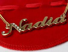 Nome Collana Placcato Oro 18ct NADIA Arabo Personalizzato Regali di Compleanno Eid