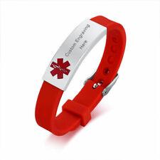 Customized Engrave Red Medical Alert Bracelet Rubber Tag Emergency For Children