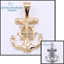 37 Men's Stainless Steel Gold Silver Anchor Jesus Cross Pendant