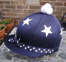 Equitazione Cappello seta Skull Cap Coperchio Blu Navy Bianco Stelle barra  multifunzione con o W  09118c3ddd2b