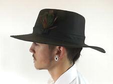 New Wax Cotton Hat Dark Brown Australian Bushman Feather  Size XS S M L XL