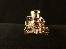 Biker Ring Totenkopf mit Zylinder 24 Karat Vergoldet Skull Fashion Skelett