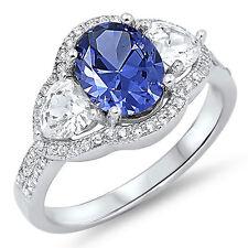 Sterling Silver 925 Women's CZ Tanzanite Heart Fashion Engagement Ring Size 5-10