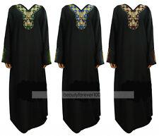 Muslim Black Abaya Dress Islamic Clothing Women Rhinestone Kaftan Dubai Dresses