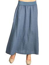 CASPAR RO019 Women Long Maxi Summer Pleated Skirt Stretch Waist Italian Linen