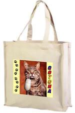 GATTO SORIANO, Cotone Shopping Bag, Gotcha-Scelta di Colori: Nero, Crema
