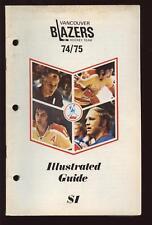 1974/75 WHA Media Guide Vancouver Blazers