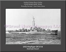 USS Heyliger DE 510 Personalized Canvas Ship Photo Print Navy Veteran Gift