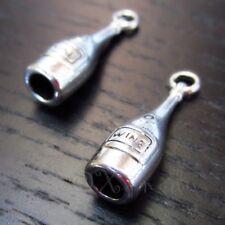 Wine Bottle 28mm Antiqued Silver Plated 3D Pendant Charms C0049 - 5, 10, 20PCs