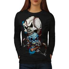 Baseball Sport Goth Skull Women Long Sleeve T-shirt NEW   Wellcoda