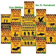 Beware Zombies Rising Vintage Metal Tin Signs Retro Art Wall Decor Poster