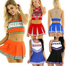 ADULTS LADIES CHEERLEADER WOMENS FANCY DRESS OUTFIT COSTUME HIGH SCHOOL SKIRT