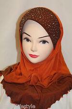 Ladies WomenBeautiful One Piece Muslim Islamic Hijab Flower Diamonte Scarf Stole