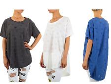 Bluse Damenbluse  Vokuhila Longshirt Crashlook Shirt Tunika TOP Tshirt Oberteil