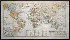 1897.Orig. Xilo-Topografica=Network/Reti Telegrafiche nel Mondo=Planisfero 43x24