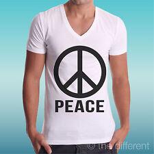 T-SHIRT BIANCA COLLO V SIMBOLO PACE NERO PEACE LOVE DEA REGALO ROAD TO HAPPINESS