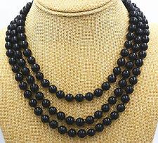 New 8mm-12mm Round Black Onyx Gemstone Bead Necklace 18-48'' AAA